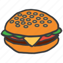 burger, eat, fast, food, hamburger, junk, meal icon