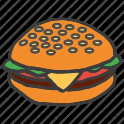 burger, eat, fast, food, hamburger, junk, meal icon