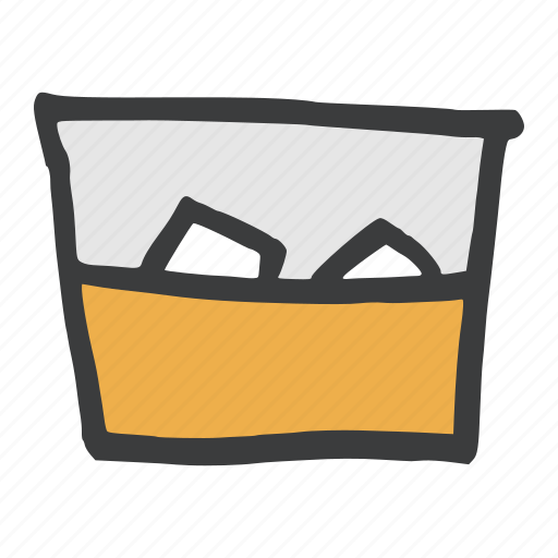 alcohol, beverage, drink, glass, ice cube, scotch, whisky icon