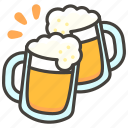 1f37b, beer, clinking, mugs icon