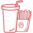 beverage, cup, drink, french, fries, juice, soda icon