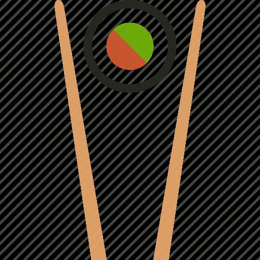 chopstick, chopsticks, food, japanese, makizushi, roll, sushi icon
