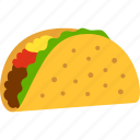 fast, fastfood, food, lunch, mexican, taco, tortilla icon