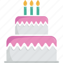 birthday, birthday cake, cake, candles, dessert, food, gateau, pastry, patisserie icon