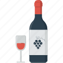 alcohol, bottle, bottle of wine, bottle wine, drink, glass, grape, red wine, wine icon