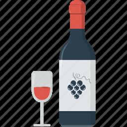 alcohol, bottle, bottle of wine, bottle wine, drink, glass, grape, red wine, wine icon