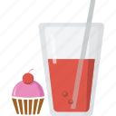 cake, cupcake, dessert, drink, food, glass, pastry, patisserie, soft drink, stick, sweet icon