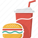 coca, coke, drink, fast food, food, glass, hamburger, junk food, soft drink icon