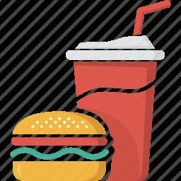 coca, coke, drink, fast food, food, glass, hamburger, junk food, soft drink icon