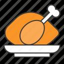 chicken, cooking, cuisine, food, menu, restaurant, roast chicken icon