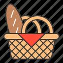 bread, food, food basket, picnic basket icon