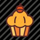 cake, cupcake, cherry