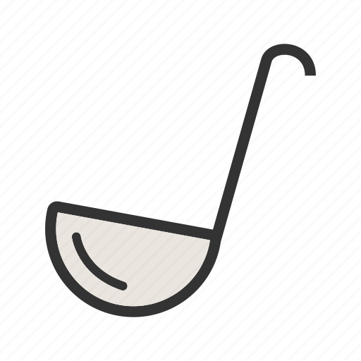 food, kitchen, ladle, metal, steel, utensil, white icon