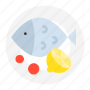 cooking, cuisine, fish menu, food, meal, restaurant, steamed fish with lemon icon