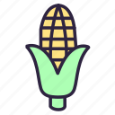 corn, food, indian corn, maize, popcorn, vegetable, vegetarian icon