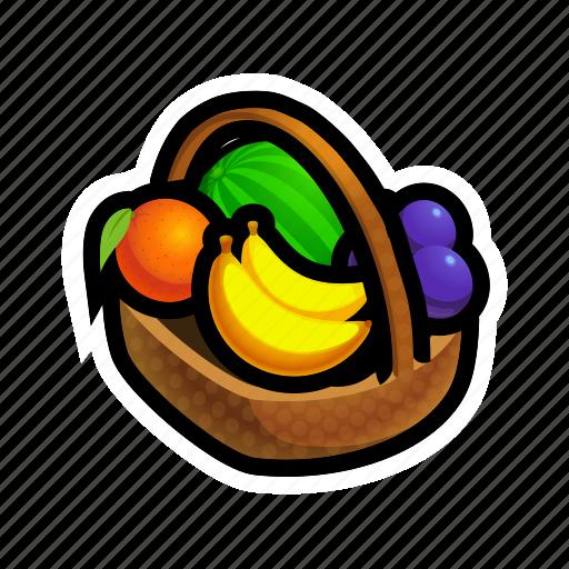 banana, basket, farm, food, fruit, fruits, full icon