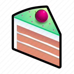 cake, cherry, food, of, piece icon