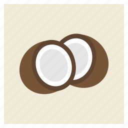 coconut, fat, food, saturated, seed, shell, vegan icon