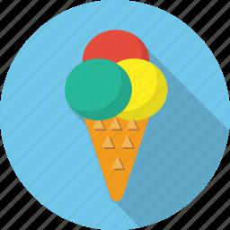 cream, food, ice, ice cream, ice cream cone, icecream, waffle cup icon