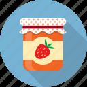 food, fruit, jam, jar, jelly, preserved, strawberry