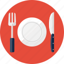 restaurant, fork, plate, lunch, food, knife