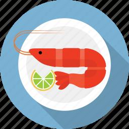food, marine, prawn, restaurant, sea, seafood, shrimp icon