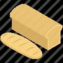bakery food, bakery item, flat bread, fresh bread, loaf icon