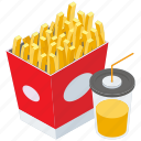 french fries, fast food, fries with drink, junk food, meal, snack