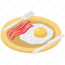 egg bacon, breakfast, meal, fried egg, egg with bacon