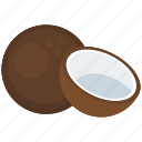 coconut, copra, food, fruit, nut, tropical food icon