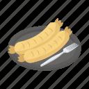 grilled hotdog, grilled sausage, hotdog, sausage, sausage platter icon