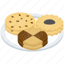 tea time cookies, bakery food, cookies, chocolate cookies, biscuits, snacks icon