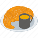 breakfast, food, french croissant, meal, tea cup icon