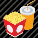 cinema food, combo, drink, popcorn, popcorn with drink icon