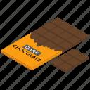 chocolate bar, chocolate candy bar, chocolate fadge, chocolate packet, dessert, sweet icon