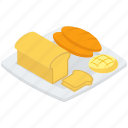 bakery food, bakery items, bread, bread slice, flat bread, loaf icon