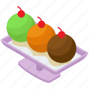 frozen dessert, ice cream platter, ice cream scoops, ice cream tray, sweet dessert icon