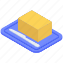 butter, butter knife, dairy product, margarine, plate with butter, sweet butter icon
