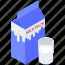 milk box, milk carton, milk container, milk pack, milk pack container, package food, preserved milk icon