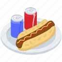 cold drinks, fast food, hot dog sandwich, junk food, meal, snack icon