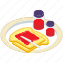 bakery food, bread and jam, bread spread, jam, sweet sauce icon