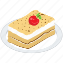 creamy layered pastry, creamy pastry platter, dessert, food, pastry platter, sweet icon