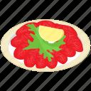 carpaccio platter, italian cuisine, italian food, meal, talian dish icon