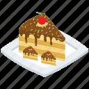 cake slice platter, chocolate cake slice, chocolate layered cake, dessert, food, sweet icon