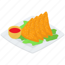 indian cuisine, indian food, indian samosa, indian snack, samoa platter icon