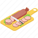 cold meat, cutting sausages board, hotdogs, salami, sausages icon