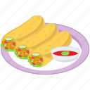 egg roll, fried food, lumpia, snacks, spring roll icon