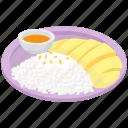 mango sticky rice, sticky rice, thai cuisine, thai dessert, thai food icon