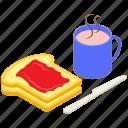 bread slice, breakfast, food, meal, tea cup icon