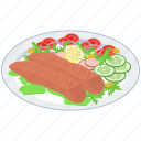 healthy food, hotdog platter, salad, sea food, smoke fish, veggies icon